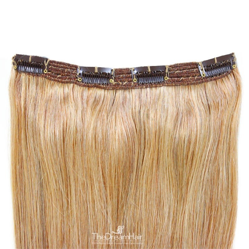 One Piece of Triple Weft, Clip in Hair Extensions, Color #27 (Honey Blonde), Made With Remy Indian Human Hair