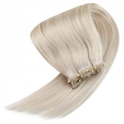 Micro Ring Weft Hair Extensions, Mix Colour #18/613 (Light Ash Blonde / Platinum Blonde), Made With Remy Indian Human Hair