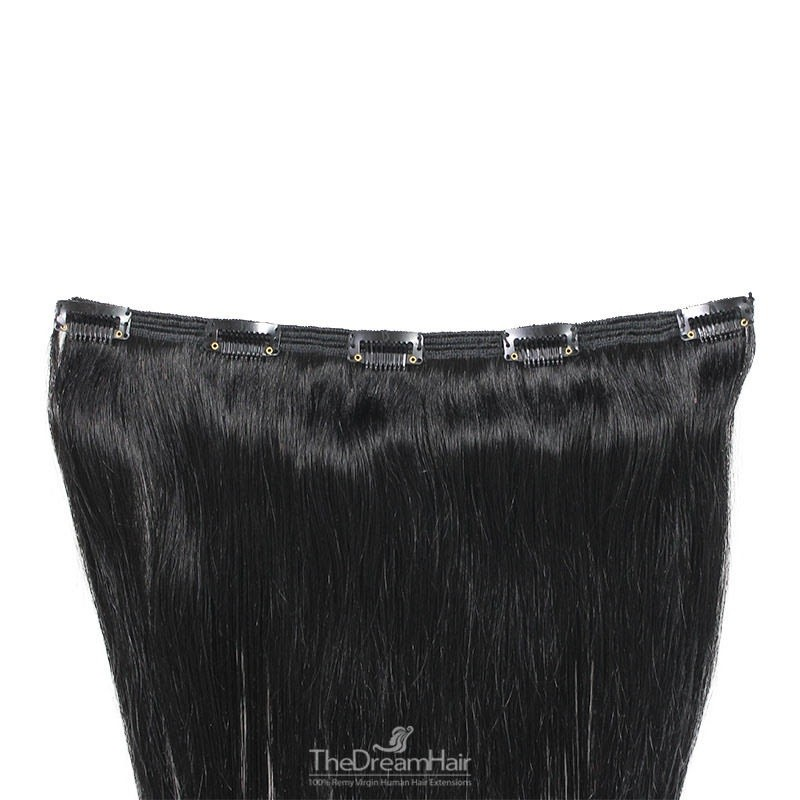 One Piece of Double Weft, Extra Large, Clip-in Hair Extensions, Color #1 (Jet Black), Made With Remy Indian Human Hair
