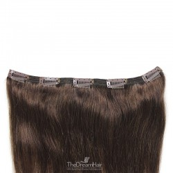 One Piece of Double Weft, Extra Large, Clip-in Hair Extensions, Color #2 (Darkest Brown), Made With Remy Indian Human Hair