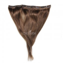 One Piece of Double Weft, Extra Large, Clip-in Hair Extensions, Color #4 (Dark Brown), Made With Remy Indian Human Hair