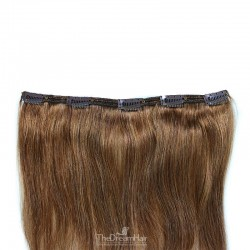 One Piece of Double Weft, Extra Large, Clip-in Hair Extensions, Color #6 (Medium Brown), Made With Remy Indian Human Hair