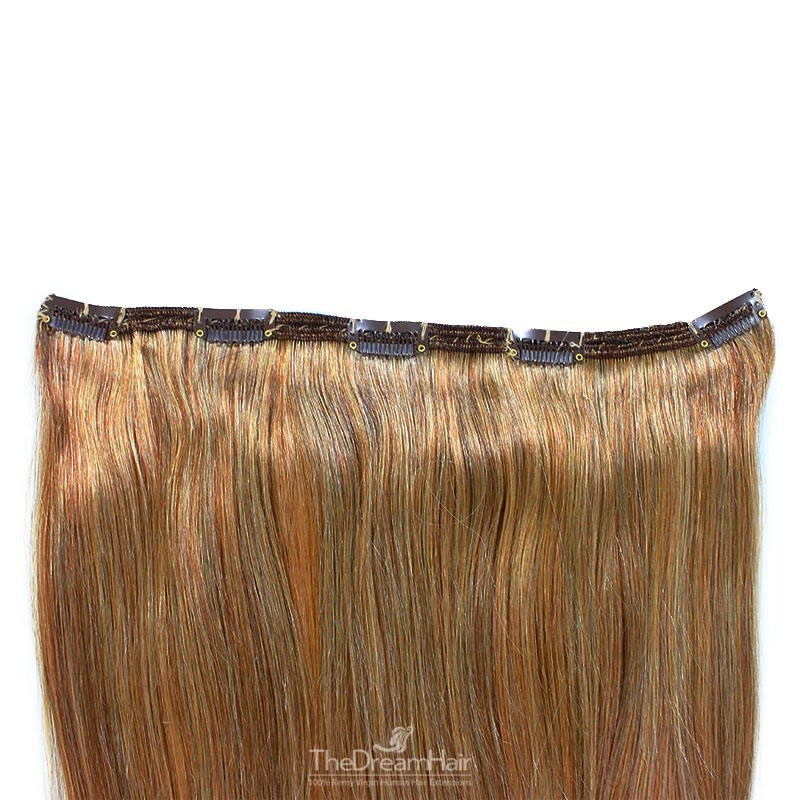 """One Piece of Double Weft, """"Extra-Large"""", Clip in Hair Extensions, Color #8 (Chestnut Brown), Made With Remy Indian Human Hair"""