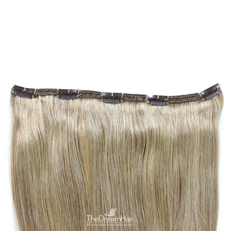 """One Piece of Double Weft """"Extra-Large"""", Clip in Hair Extensions, Color #16 (Medium Ash Blonde), Made With Remy Indian Human Hair"""