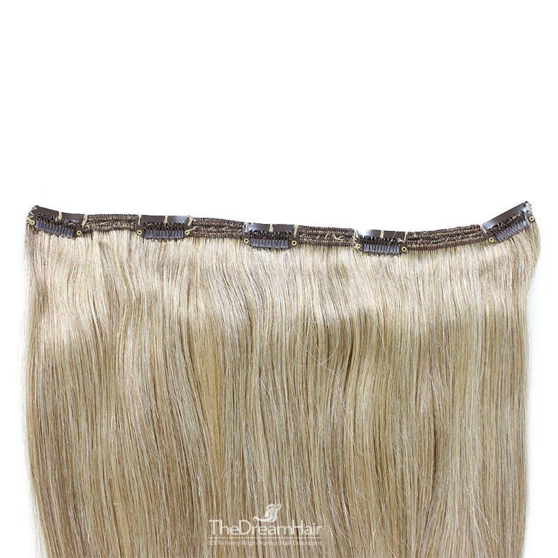"""One Piece of Double Weft """"Extra-Large"""", Clip in Hair Extensions, Color #18 (Light Ash Blonde), Made With Remy Indian Human Hair"""