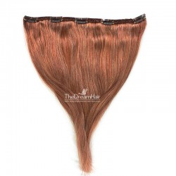 """One Piece of Double Weft """"Extra-Large"""", Clip in Hair Extensions, Color #33 (Auburn), Made With Remy Indian Human Hair"""