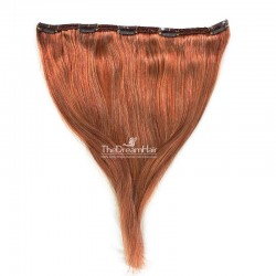 One Piece of Double Weft, Extra Large, Clip-in Hair Extensions, Color #35 (Red Rust), Made With Indian Human Hair