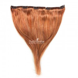 One Piece of Double Weft, Extra Large, Clip-in Hair Extensions, Color #350 (Dark Copper Red), Made With Indian Hair