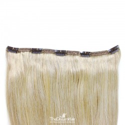 """One Piece of Double Weft """"Extra-Large"""", Clip in Hair Extensions, Color #60 (Lightest Blonde), Made With Remy Indian Human Hair"""