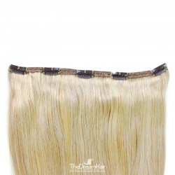 """One Piece of Double Weft """"Extra-Large"""", Clip in Hair Extensions, Color #613 (Platinum Blonde), Made With Remy Indian Human Hair"""