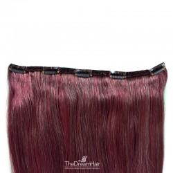 """One Piece of Double Weft """"Extra-Large"""", Clip in Hair Extensions, Color #99j (Burgundy), Made With Indian Human Hair"""