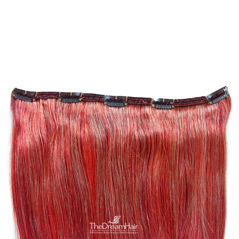 One Piece of Double Weft, Extra Large, Clip-in Hair Extensions, Color #Red, Made With Indian Hair