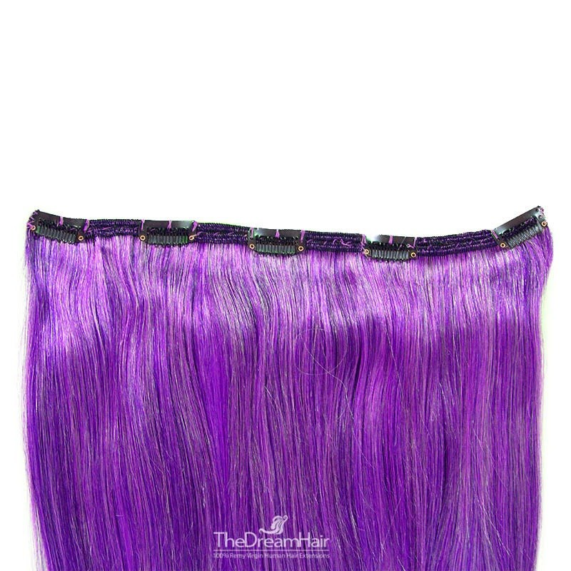 One Piece of Double Weft, Extra Large, Clip-in Hair Extensions, Color #Purple, Made With Remy Indian Human Hair