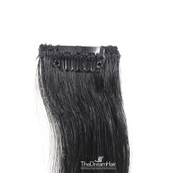 One Piece of Funky Streak Weft, Clip in Hair Extensions, Color #1 (Jet Black), Made With Remy Indian Human Hair