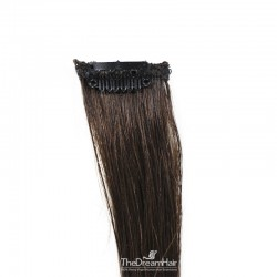 One Piece of Funky Streak Weft, Clip in Hair Extensions, Color #2 (Darkest Brown), Made With Remy Indian Human Hair