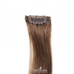 One Piece of Funky Streak Weft, Clip in Hair Extensions, Color #4 (Dark Brown), Made With Remy Indian Human Hair