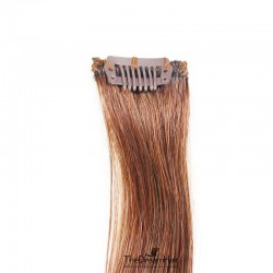 One Piece of Funky Streak Weft, Clip in Hair Extensions, Color #30 (Dark Auburn), Made With Remy Indian Human Hair