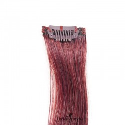 One Piece of Funky Streak Weft, Clip in Hair Extensions, Color #530 (Red Wine), Made With Remy Indian Human Hair