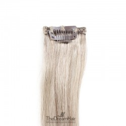 One Piece of Funky Streak Weft, Clip in Hair Extensions, Color #Grey Made With Remy Indian Human Hair