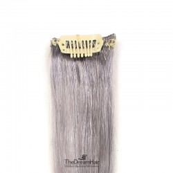One Piece of Funky Streak Weft, Clip in Hair Extensions, Color #Silver, Made With Remy Indian Human Hair