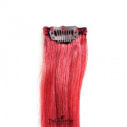 One Piece of Funky Streak Weft, Clip in Hair Extensions, Color #Red, Made With Remy Indian Human Hair