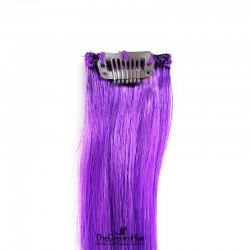 One Piece of Funky Streak Weft, Clip in Hair Extensions, Color #Purple, Made With Remy Indian Human Hair