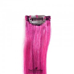 One Piece of Funky Streak Weft, Clip in Hair Extensions, Color #Pink, Made With Remy Indian Human Hair