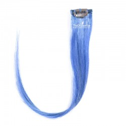 One Piece of Funky Streak Weft, Clip in Hair Extensions, Color #Blue, Made With Remy Indian Human Hair
