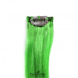One Piece of Funky Streak Weft, Clip in Hair Extensions, Color #Green, Made With Remy Indian Human Hair