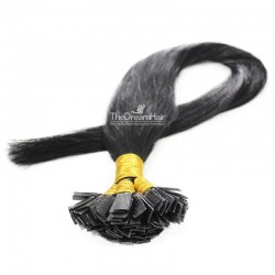Pre-bonded Hair Extensions, Flat-Tip, Color #1 (Jet Black), Made With Remy Indian Human Hair