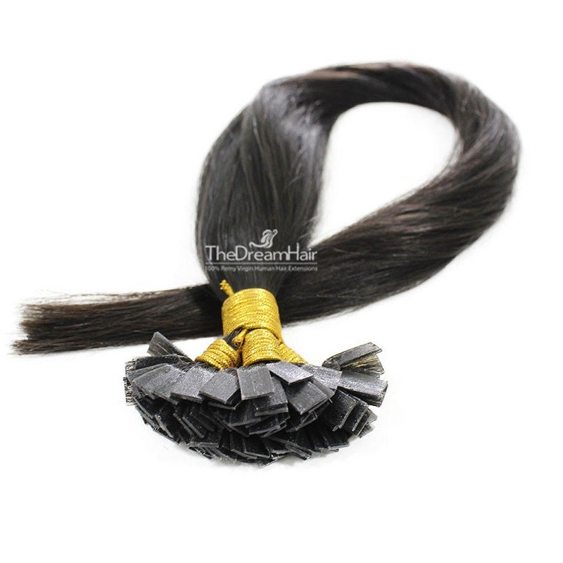 Pre-bonded Hair Extensions, Flat-Tip, Color #1B (Off Black), Made With Remy Indian Human Hair