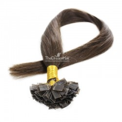 Pre-bonded Hair Extensions, Flat-Tip, Color #2 (Darkest Brown), Made With Remy Indian Human Hair