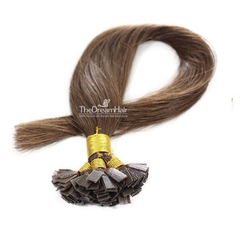 Pre-bonded Hair Extensions, Flat-Tip, Color #4 (Dark Brown), Made With Remy Indian Human Hair