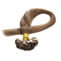 Pre-bonded Hair Extensions, Flat-Tip, Color #6 (Medium Brown), Made With Remy Indian Human Hair
