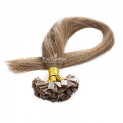Pre-bonded Hair Extensions, Flat-Tip, Color #8 (Chestnut Brown), Made With Remy Indian Human Hair