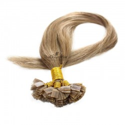 Pre-bonded Hair Extensions, Flat-Tip, Color #10 (Golden Brown), Made With Remy Indian Human Hair