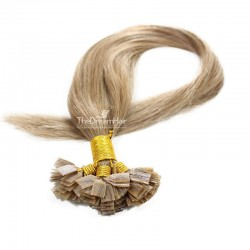 Pre-bonded Hair Extensions, Flat-Tip, Color #12 (Light Brown), Made With Remy Indian Human Hair