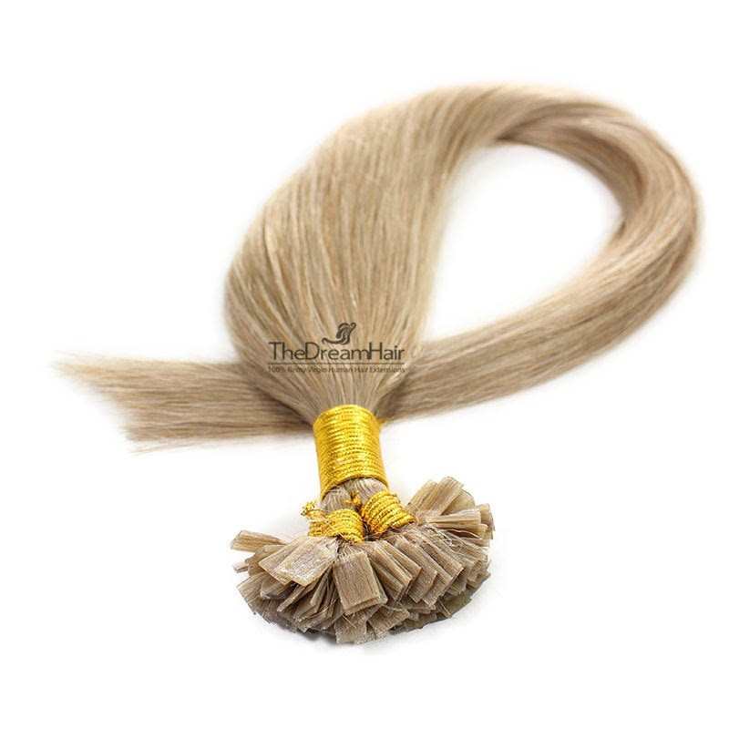 Pre-bonded Hair Extensions, Flat-Tip, Color #16 (Medium Ash Blonde), Made With Remy Indian Human Hair