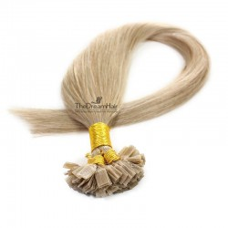 Pre-bonded Hair Extensions, Flat-Tip, Color #18 (Light Ash Blonde), Made With Remy Indian Human Hair
