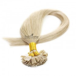 Pre-bonded Hair Extensions, Flat-Tip, Color #22 (Light Pale Blonde), Made With Remy Indian Human Hair