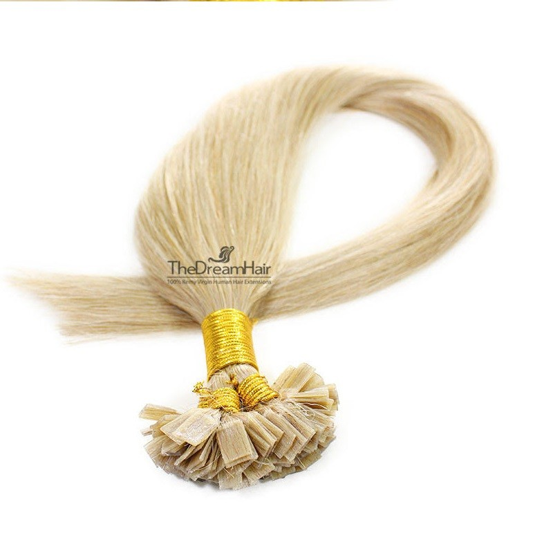 Pre-bonded Hair Extensions, Flat-Tip, Color #24 (Golden Blonde), Made With Remy Indian Human Hair