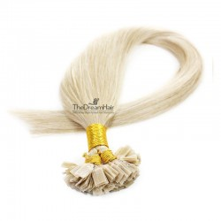 Pre-bonded Hair Extensions, Flat-Tip, Color #60 (Lightest Blonde), Made With Remy Indian Human Hair