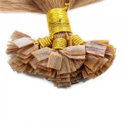 Pre-bonded Hair Extensions, Flat-Tip, Color #27 (Honey Blonde), Made With Remy Indian Human Hair