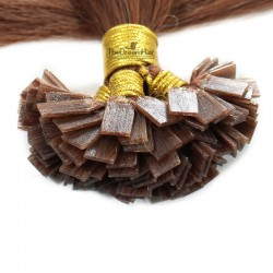 Pre-bonded Hair Extensions, Flat-Tip, Color #30 (Dark Auburn), Made With Remy Indian Human Hair