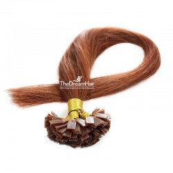 Pre-bonded Hair Extensions, Flat-Tip, Color #33 (Auburn), Made With Remy Indian Human Hair