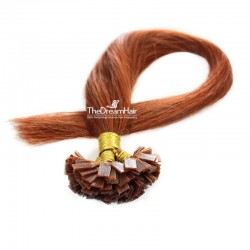 Pre-bonded Hair Extensions, Flat-Tip, Color #35 (Red Rust), Made With Remy Indian Human Hair