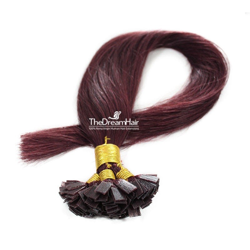 Pre-bonded Hair Extensions, Flat-Tip, Color #99j (Burgundy), Made With Remy Indian Human Hair