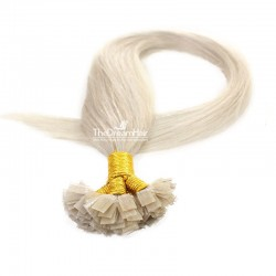Pre-bonded Hair Extensions, Flat-Tip, Color #Grey, Made With Remy Indian Human Hair