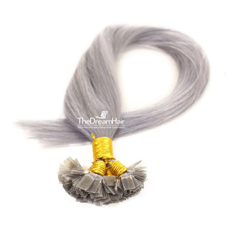 Pre-bonded Hair Extensions, Flat-Tip, Color #Silver, Made With Remy Indian Human Hair