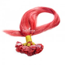 Pre-bonded Hair Extensions, Flat-Tip, Color #Red, Made With Remy Indian Human Hair